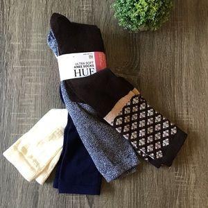 HUE Ultra Soft Knee High Socks 4 Pair NEW